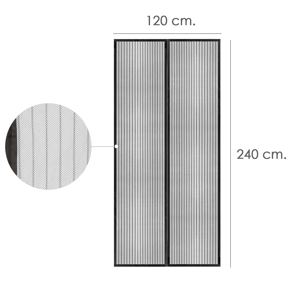 Cortina Mosquitera Cierre Magnetico 120 x 240 (Alt.) cm. Negra