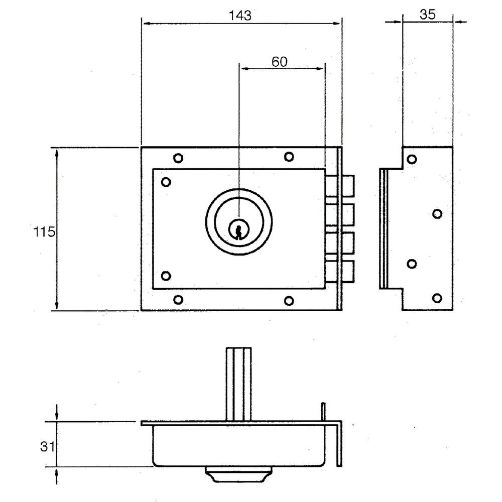 Cerradura Jis  230           8x12/ Derecha