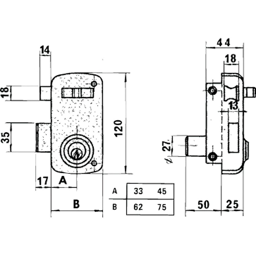 Cerradura Lince 5056A-BO/ 60 Derecha
