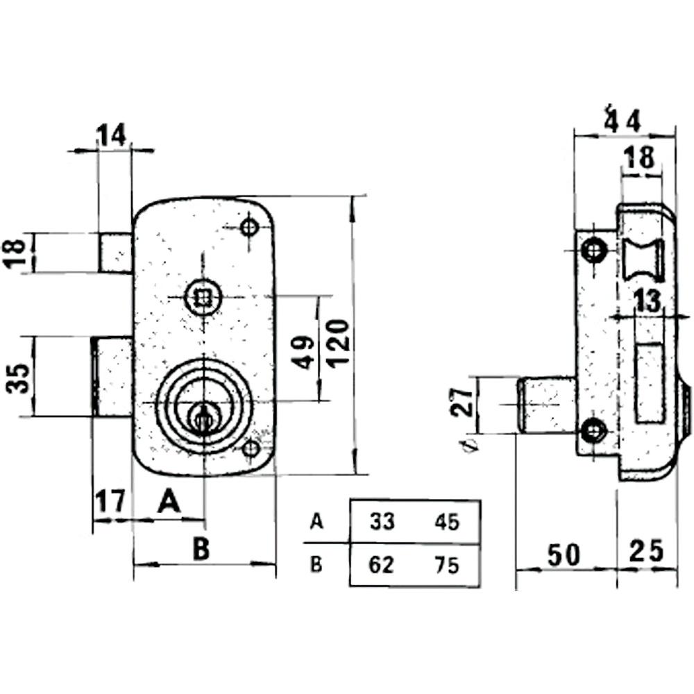 Cerradura Lince 5056B-BO/ 60 Izquierda