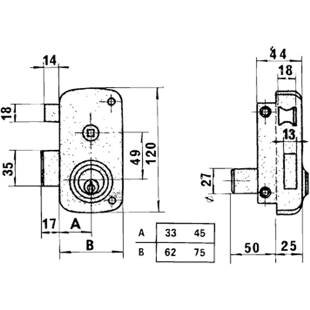 Cerradura Lince 5056B-BO/ 70 Derecha