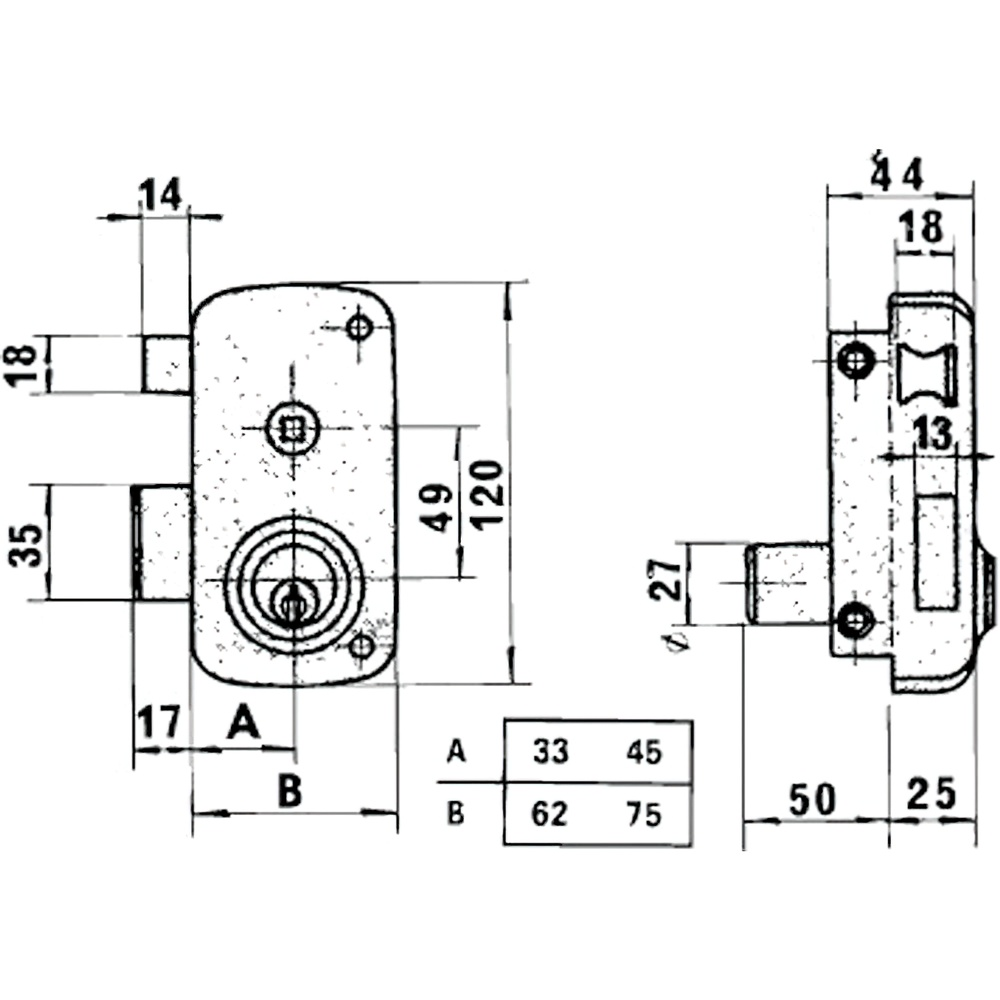 Cerradura Lince 5056B-BO/ 70 Izquierda