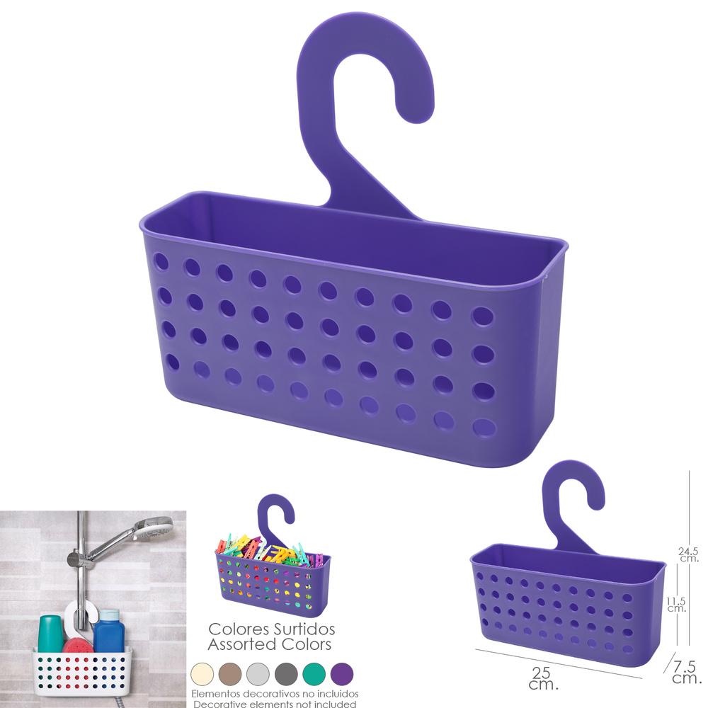 Cesta Plastico Multiusos (Pinzas / Duchas) Con Colgador Colores Surtidos