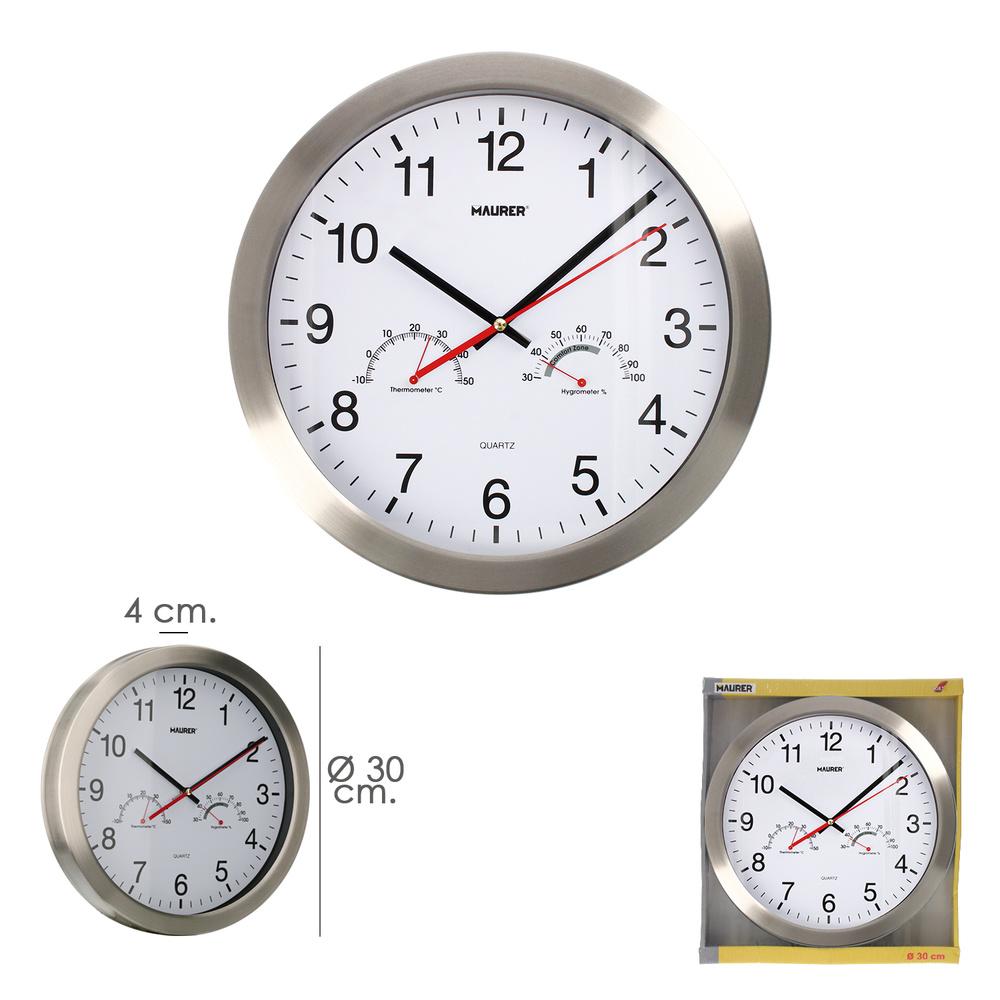 Reloj De Pared Ø 30 cm. Frontal En Acero Con Higrometro y Termometro.