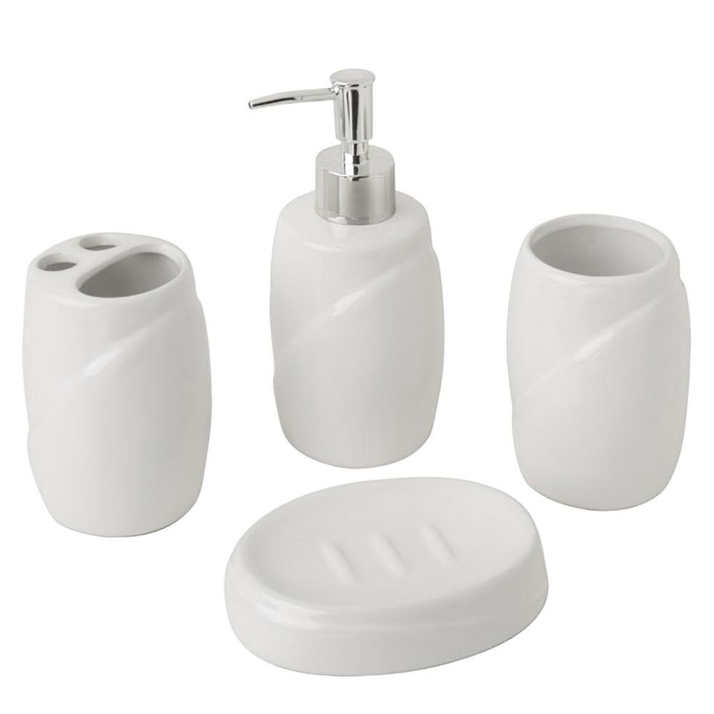 Juego accesorios ba o ceramica 4 piezas dispensador jabon for Accesorios bano ceramica