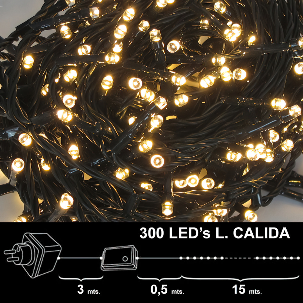 Luces navidad 300 leds luz calida interior exterior ip44 - Luces navidad exterior ...