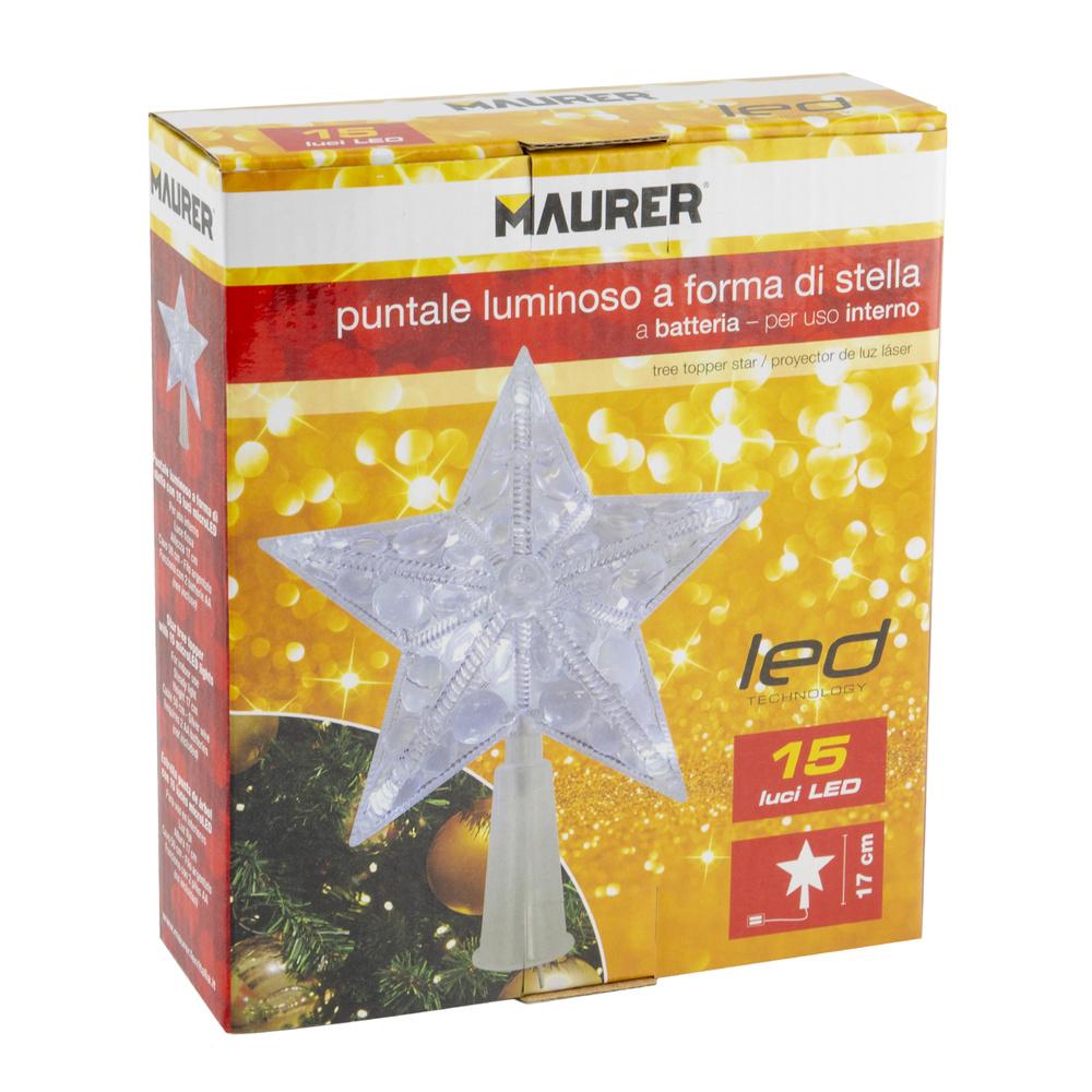 Luces Navidad Estrella Para Arbol Luz Cálida A Pilas