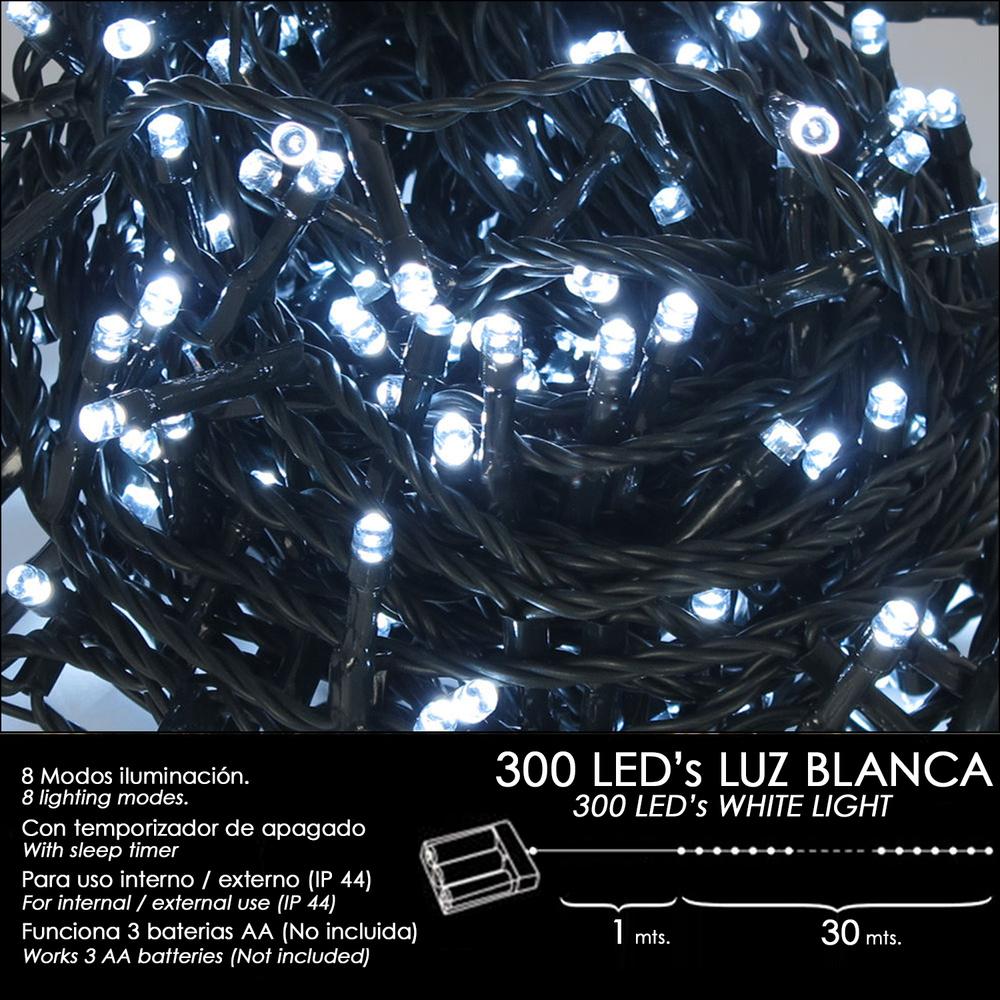 Luces Navidad A Pilas 300 Leds Luz Blanca Interior / Exterior (IP44)