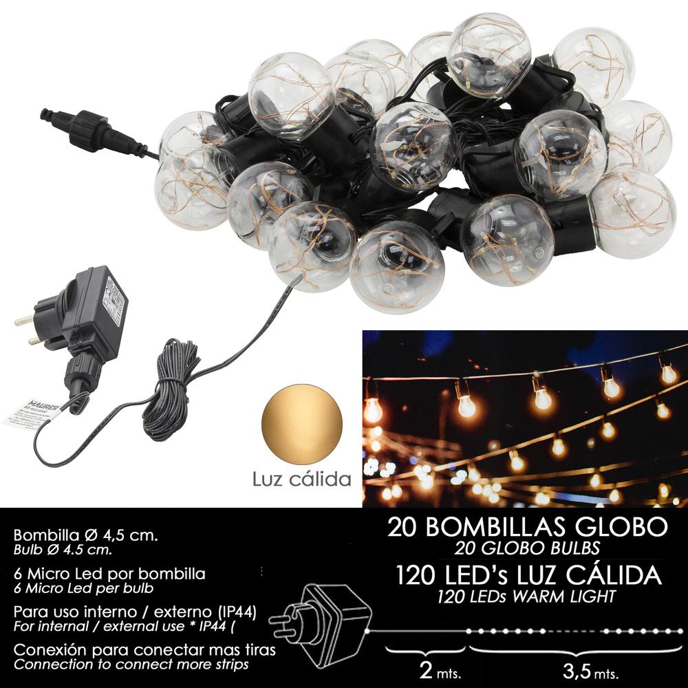 Luces Navidad Jardin Decorativas 20 Bombillas Globo (IP44)
