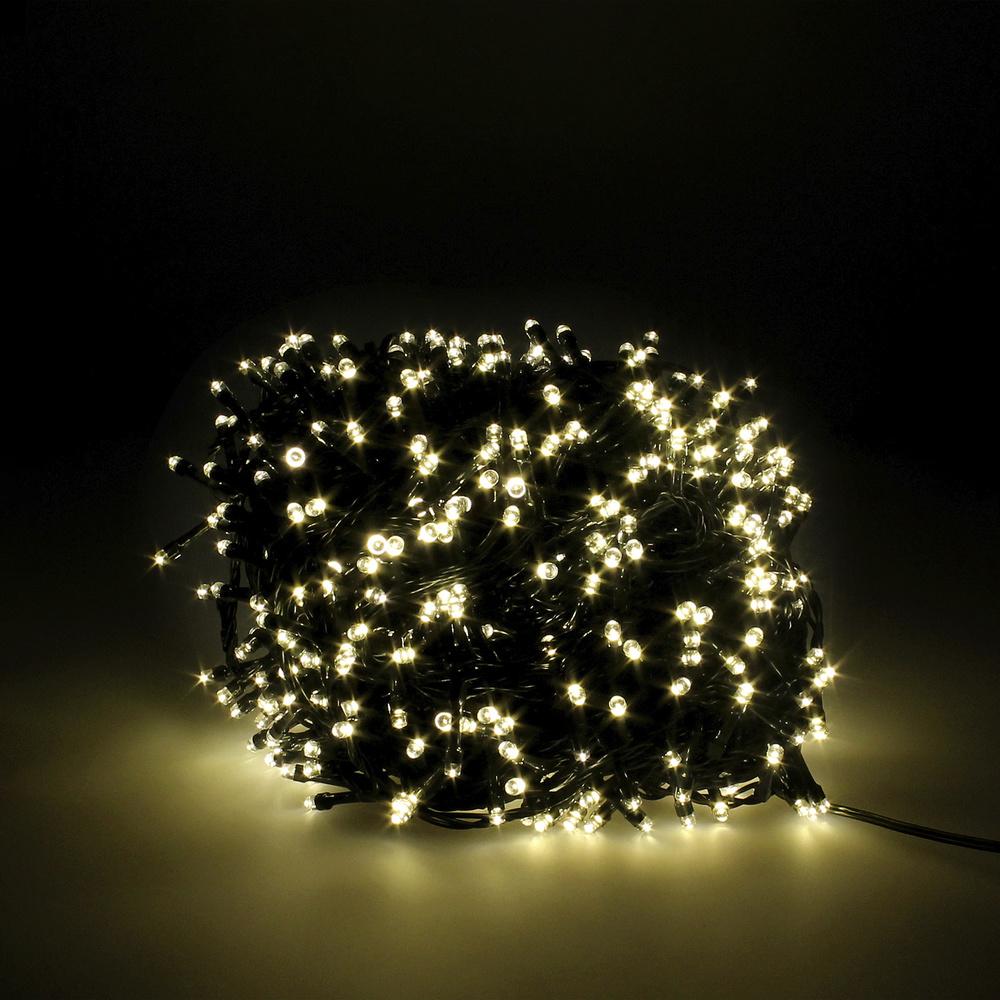 Guinalda Luces Navidad 1000 Leds Color Blanco Calido. Luz Navidad Interiores y Exteriores Ip44