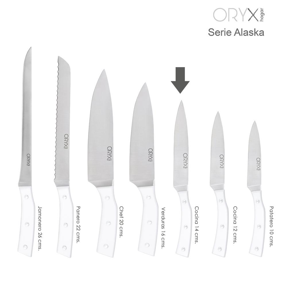 Cuchillo Alaska Cocina Hoja Acero Inoxidable 14 cm. Blanco