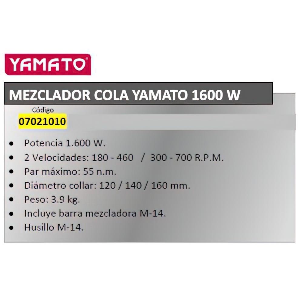 Mezclador Cola Yamato  1600 W. 2 Velocidades
