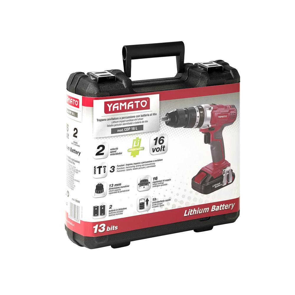 Taladro Atornillador Percutor 16,0 voltios Litio 2,0 Ah con Maletin y 2 Baterias