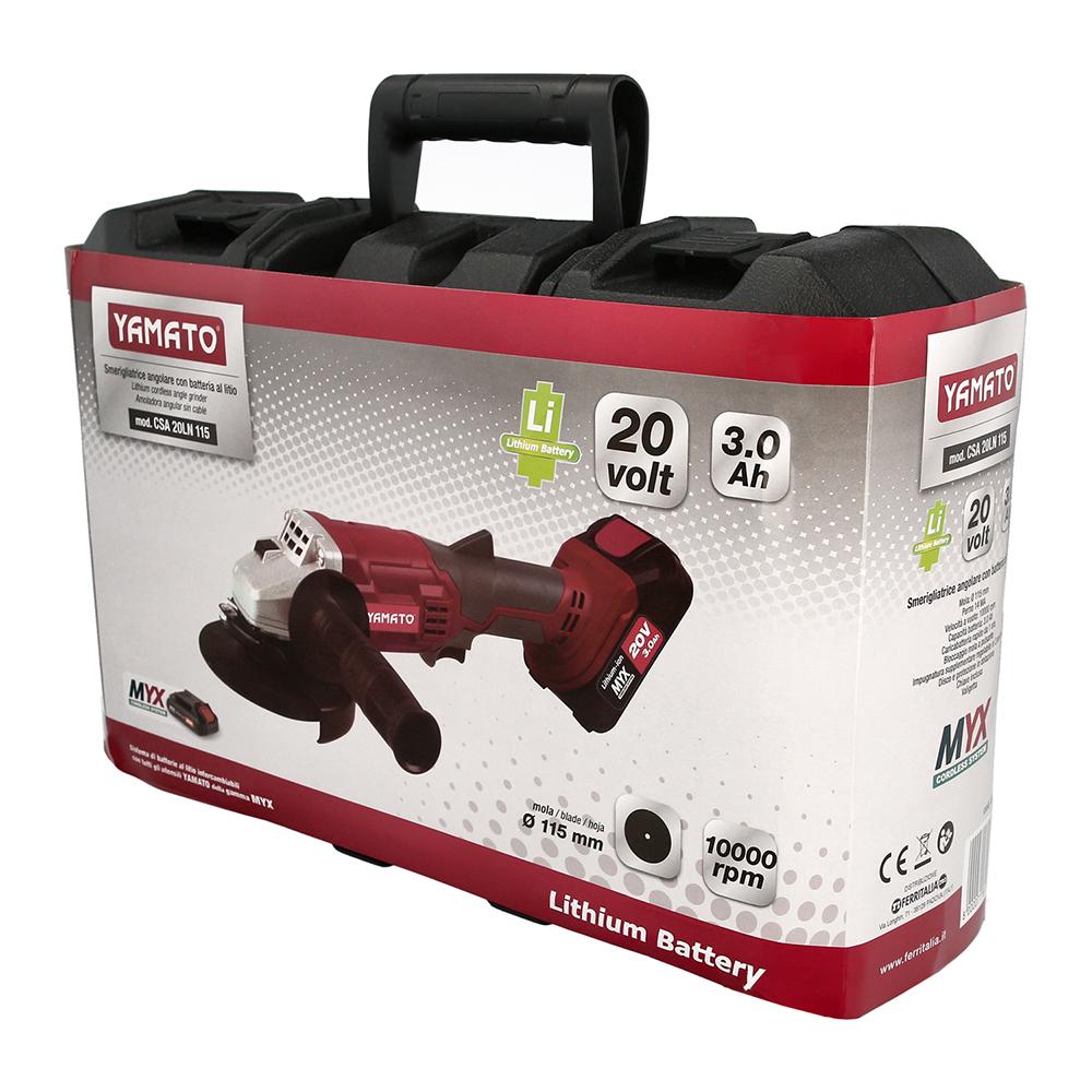 Amoladora A Bateria Litio 20 V. LIMYX Bateria 3.0 Ah 8.500 R.P.M. Disco Ø 115 mm. Con Maletin