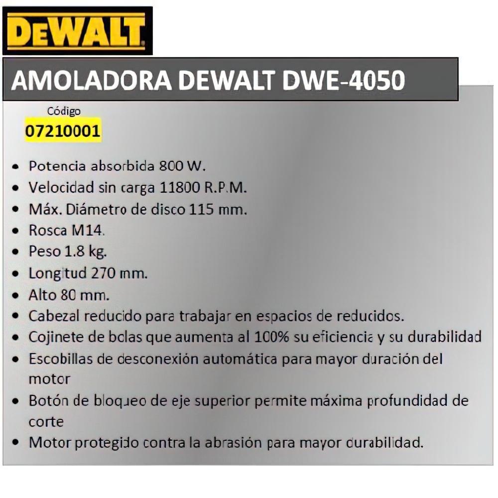 Amoladora Dewalt 800 W.     DWE 4056 QS