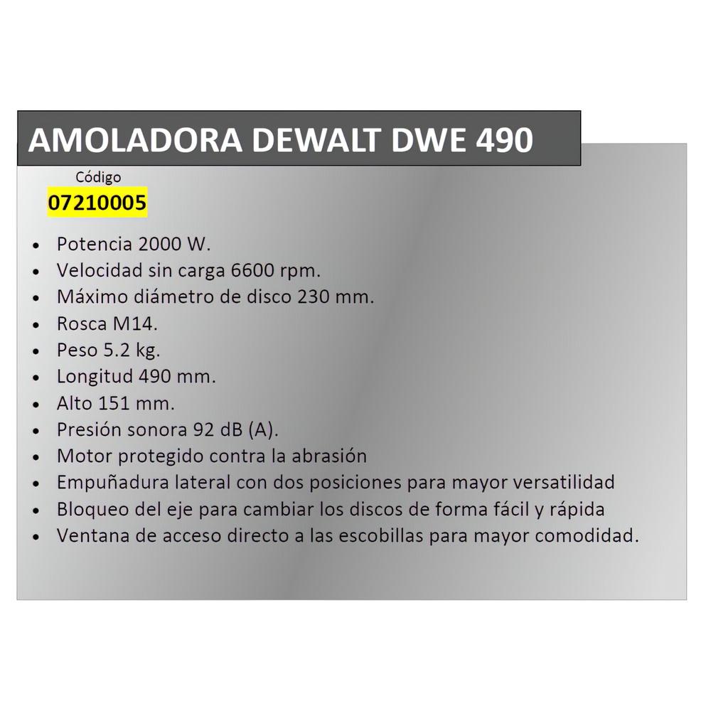 Amoladora Dewalt 2000 W. DWE 490
