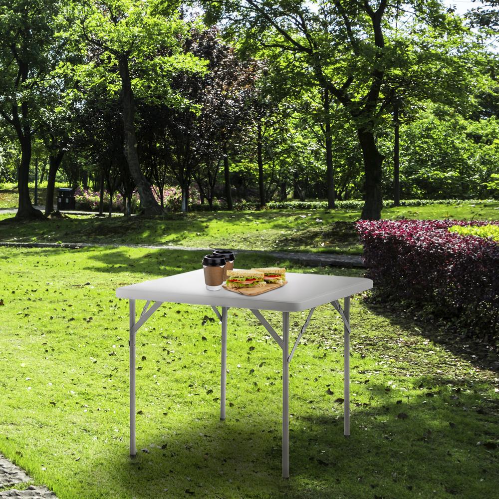 Mesa Plegable Cuadrada HDPE 86x86x74 cm. Color Blanco