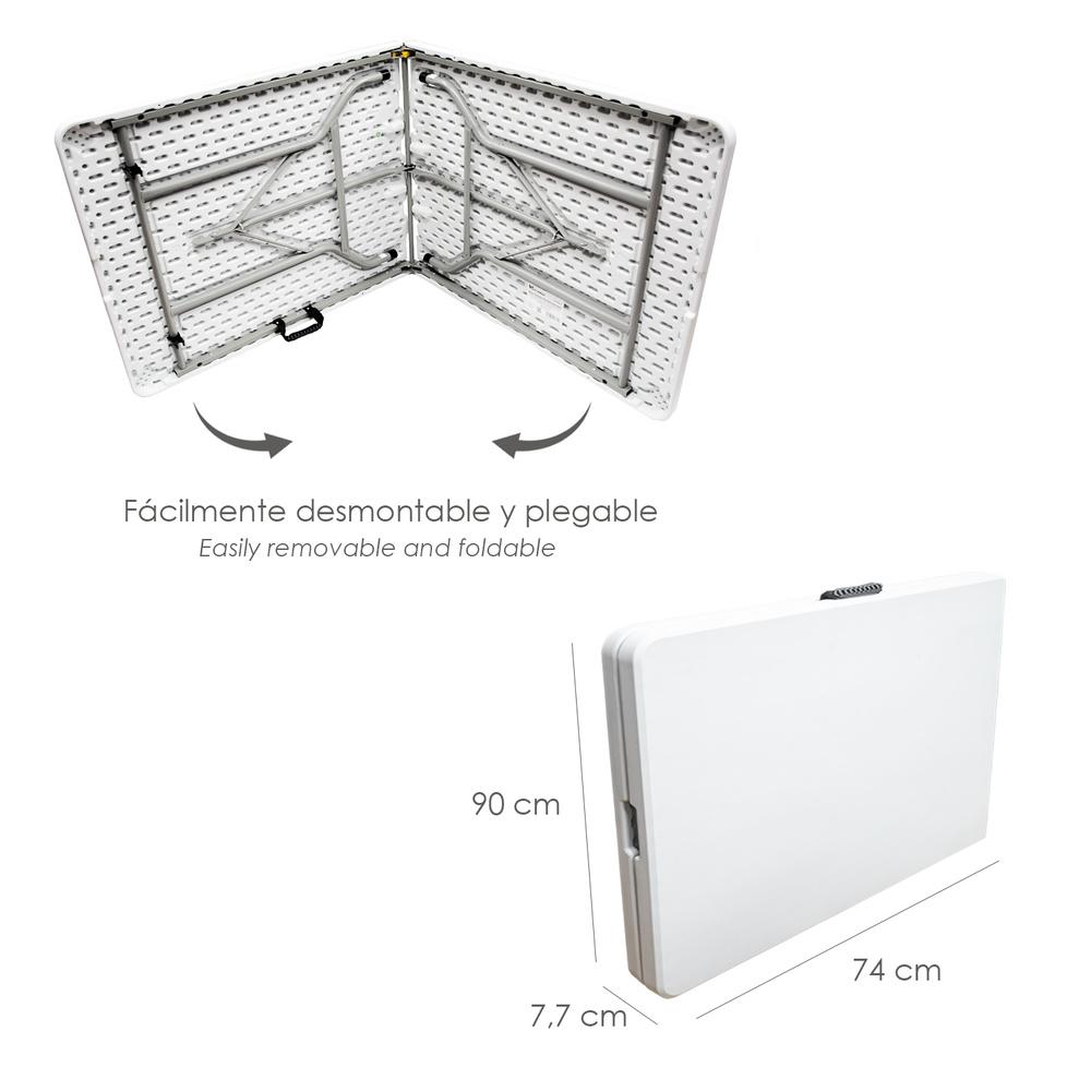 Mesa Plegable Rectangular HDPE 180x74x74 cm. Color Blanco