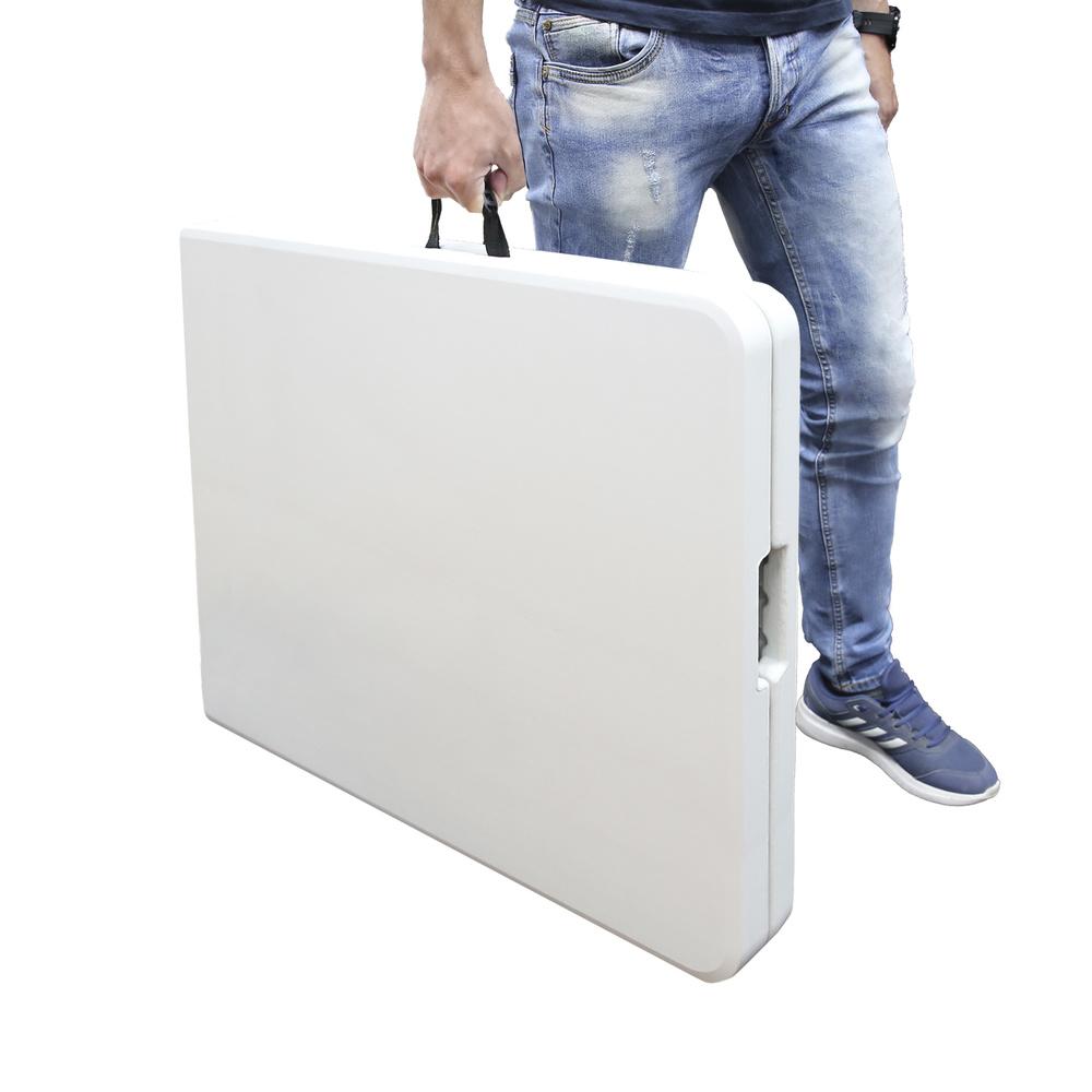 Mesa Plegable Rectangular HDPE 244x76x74 cm. Color Blanco