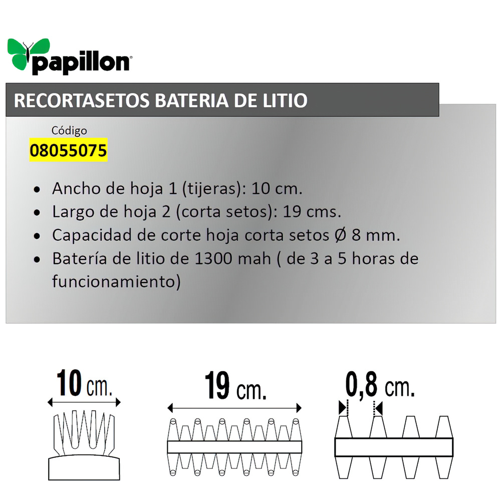Recortasetos Papillon Bateria Litio 100 mm.