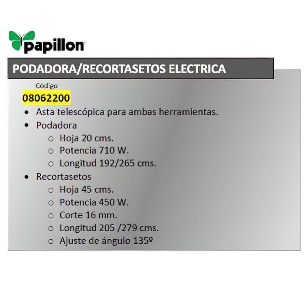 Podadora / Cortasetos Electrica Extensible Papillon