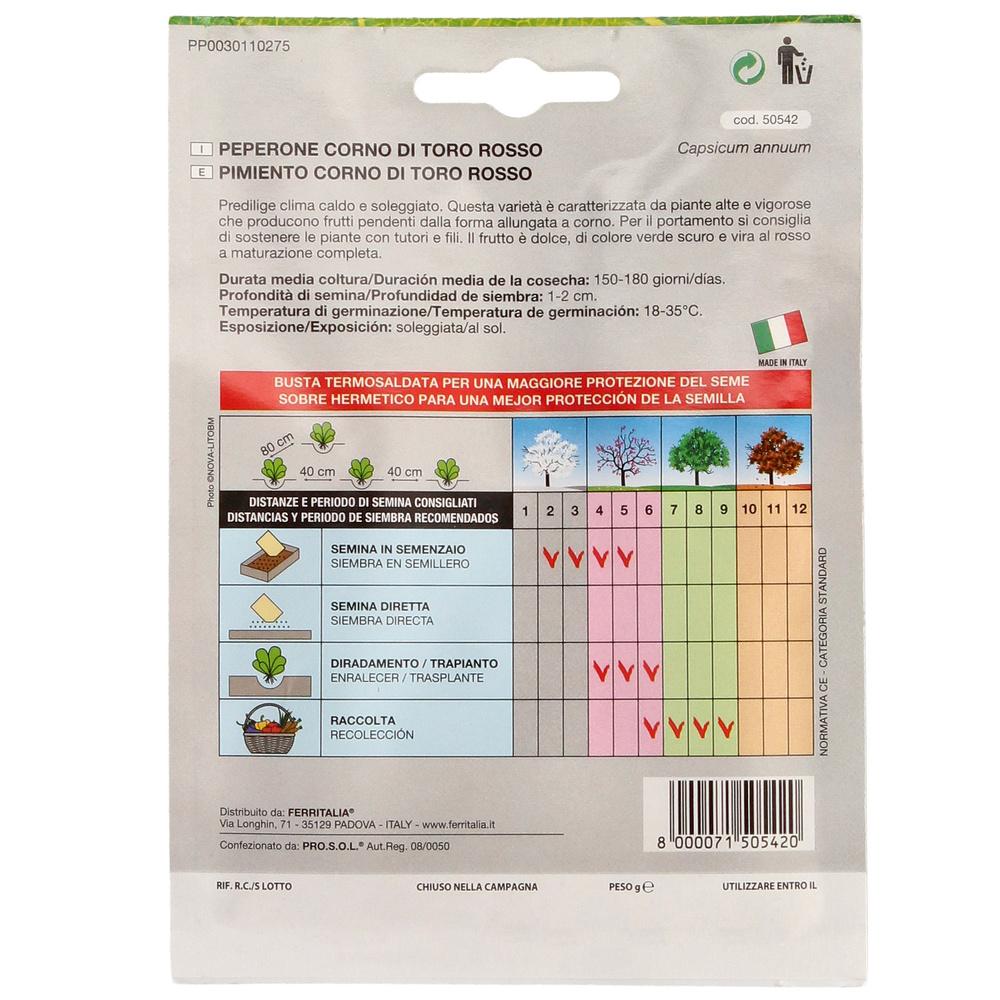 Semillas Huerto Pimiento Rojo (peso 1.5 gramos)