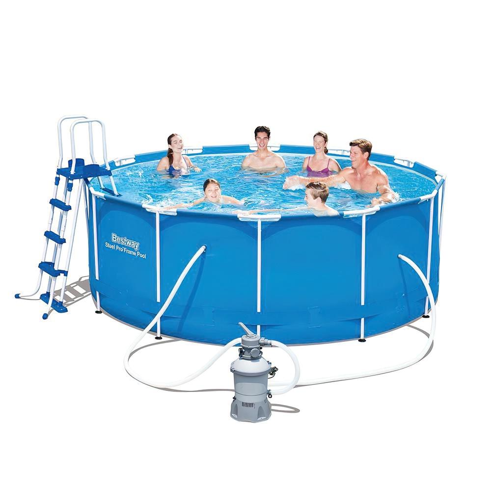 Piscina redonda con hidrobomba de arena estructura for Estructuras para piscinas