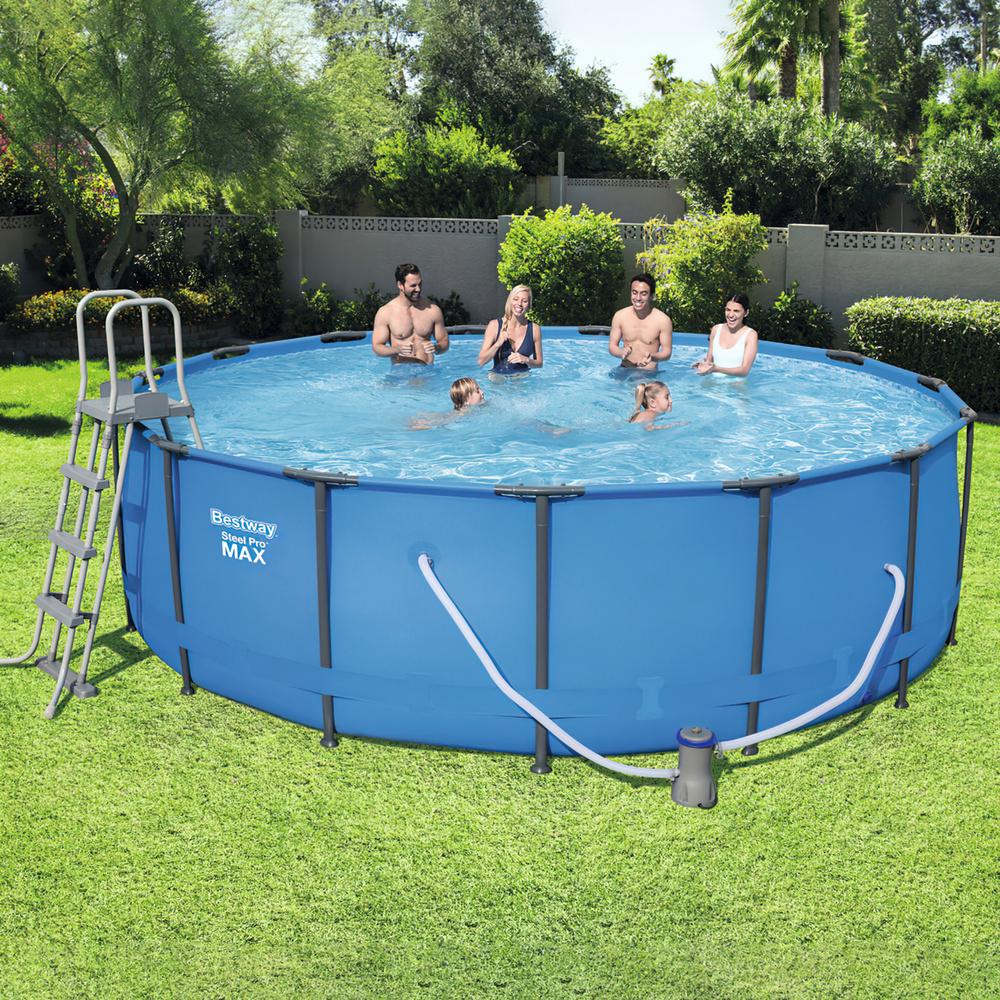 Piscina redonda con hidrobomba estructura metalica for Montaje piscina bestway