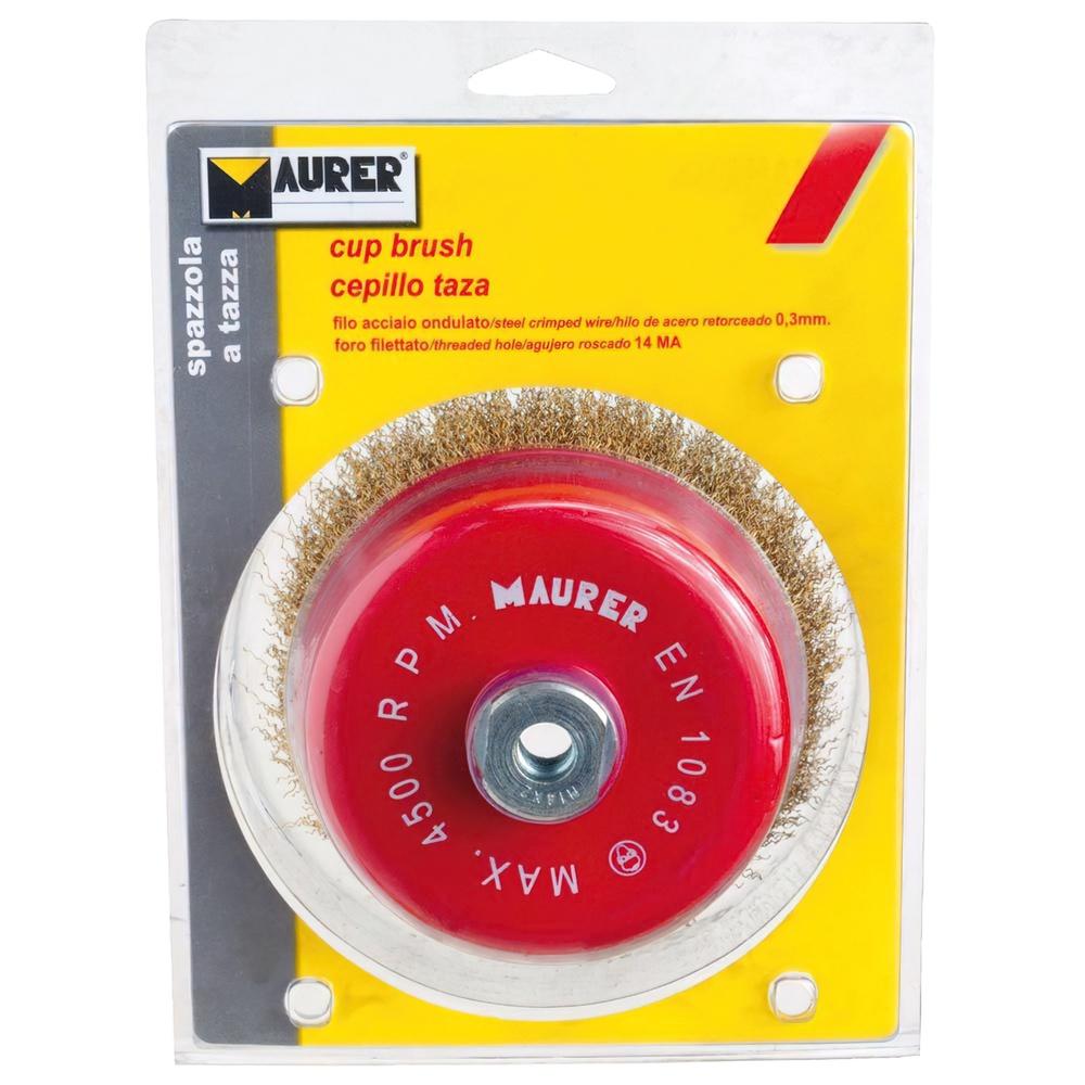 Cepillo Acero M14 Latonado Taza 100x0,30 mm.
