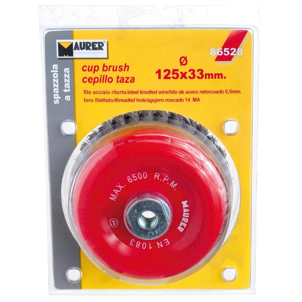Cepillo Acero M14 Trenzado Taza 125x0,50 mm.