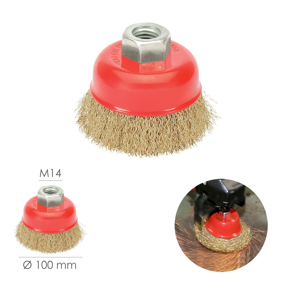 Cepillo Taza Acero Latonado, Ø 100 mm. Rosca M14 / Alambre de Ø 0,30 mm.