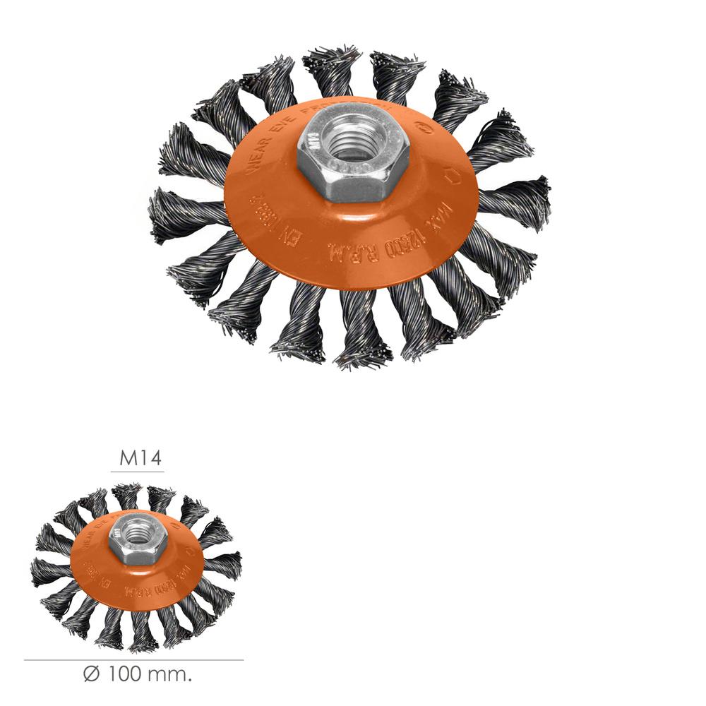 Cepillo Oblicuo Acero Trenzado Ø 100 mm. x 10 mm. Rosca M14 / Alambre de Ø 0,30 mm.