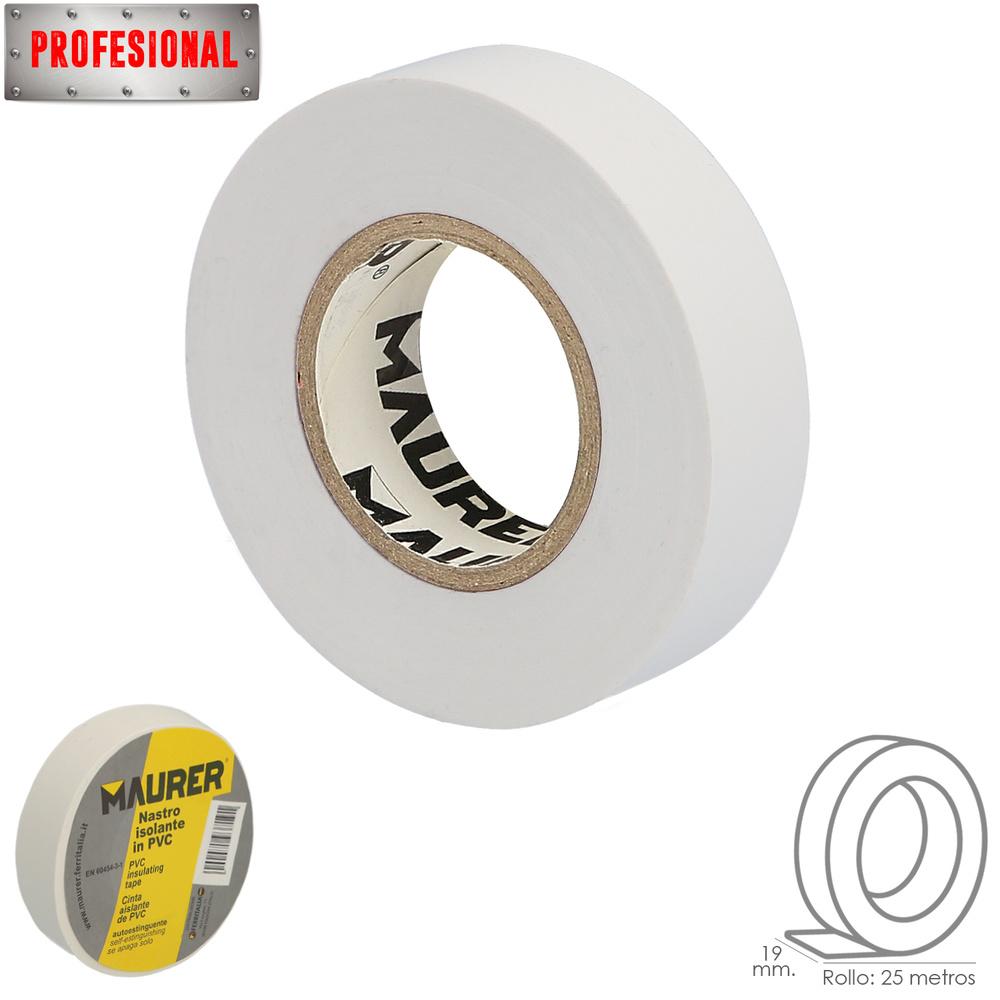 Cinta Aislante Profesional PVC 19 mm. x 25 metros x 0,13 mm espesor. Blanca.