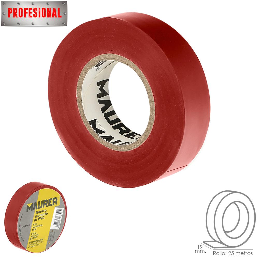Cinta Aislante Profesional PVC  19 mm. x 25 metros x 0,13 mm espesor. Roja.