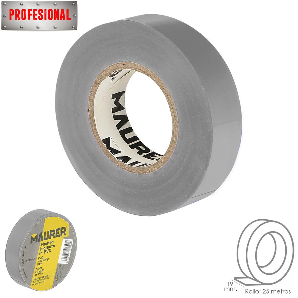 Cinta Aislante Profesional PVC 19 mm. x 25 metros x 0,13 mm espesor. Gris