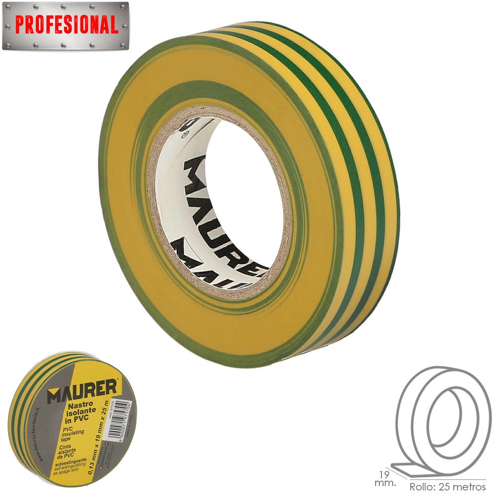 Cinta Aislante Profesional PVC 19 mm. x 25 metros x 0,13 mm espesor. Amarilla / Verde