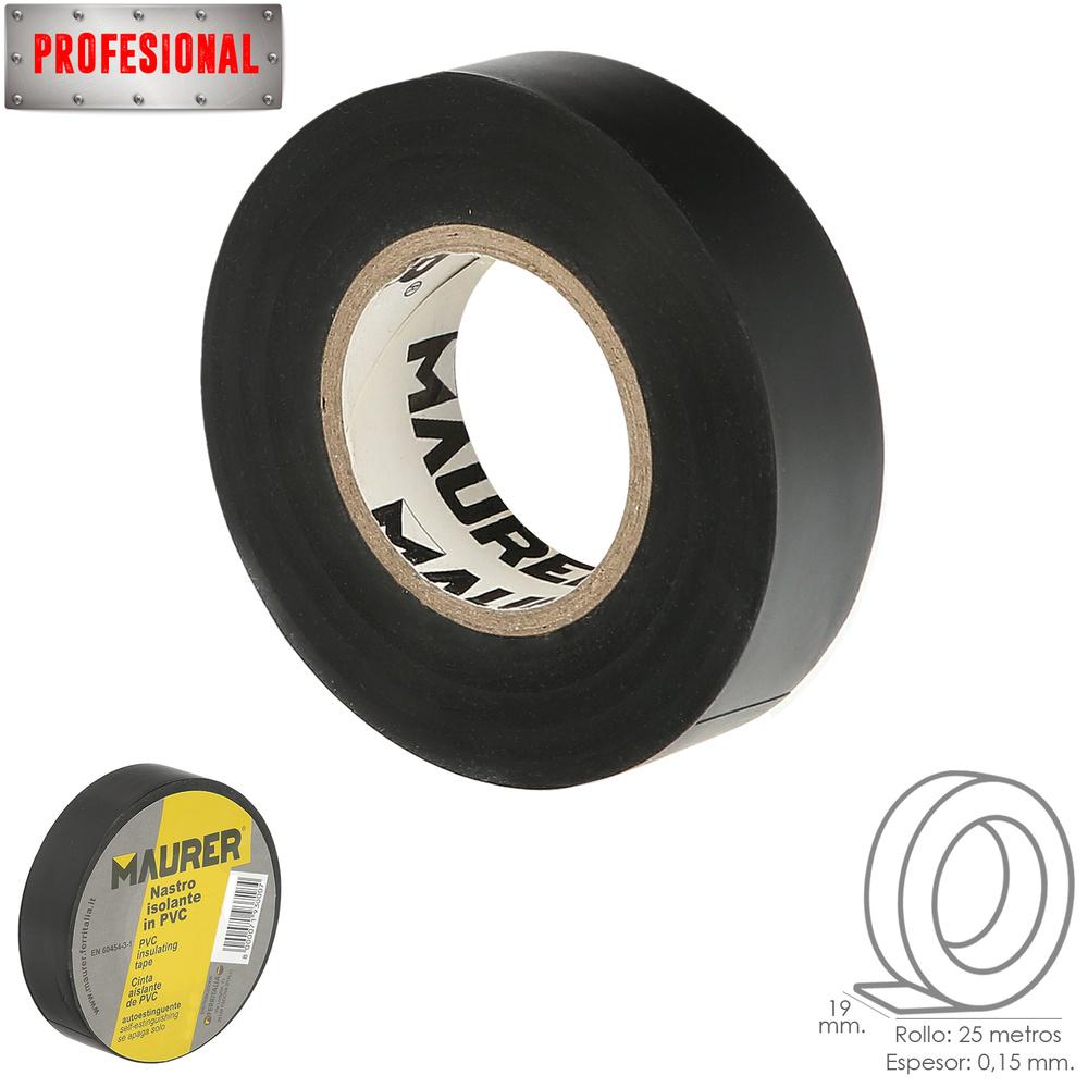Cinta Aislante Profesional PVC 19 mm. x 25 metros x 0,15 mm espesor. Negra