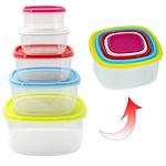 Fiambreras Plástico Cuadraras 220 / 350 / 600 / 1200 / 2000 ml. (Set 5 piezas)