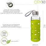 Botella Agua de Cristal Con Funda Goma y Tapon Antigotas 360 ml.