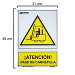 Cartel Atencion Paso Carretilla 30x21 cm.