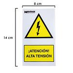 Cartel Adhesivo Alta Tension 140x80 cm.