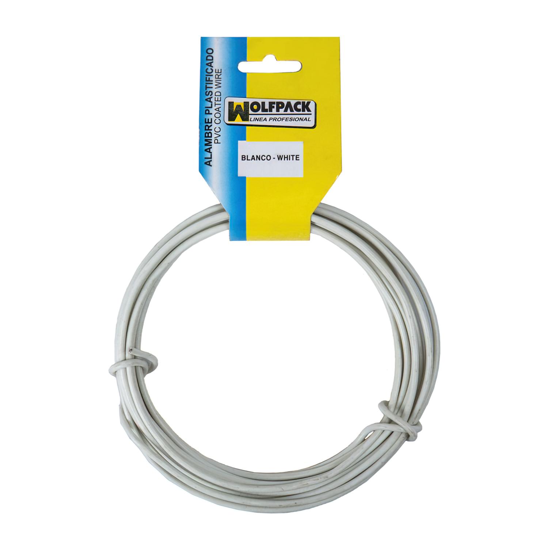 Alambre Plastificado (Rollo  5 Metros) Blanco Nº 16 / 2.7 mm