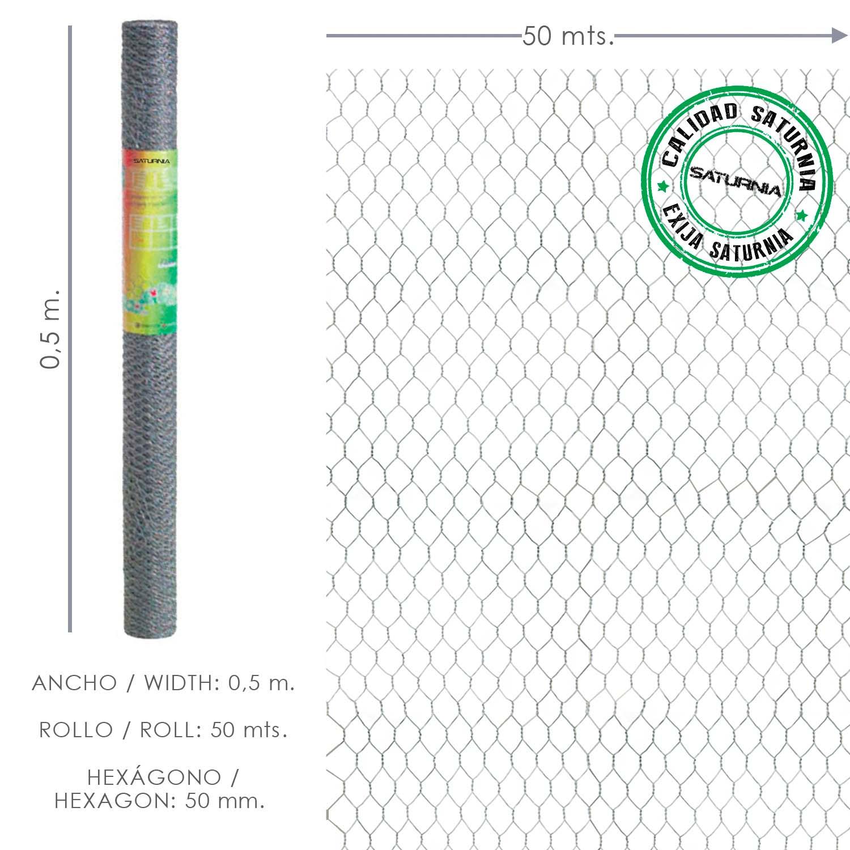 Enrejado Triple Torsion 50/  50 cm. Rollo 50 Metros Uso Domestico