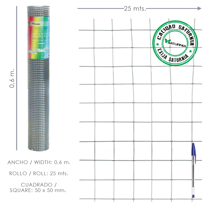 Malla Electrosoldada Galvanizada 50x50 / 2,00 / 60 cm. GA Rollo 25 metros