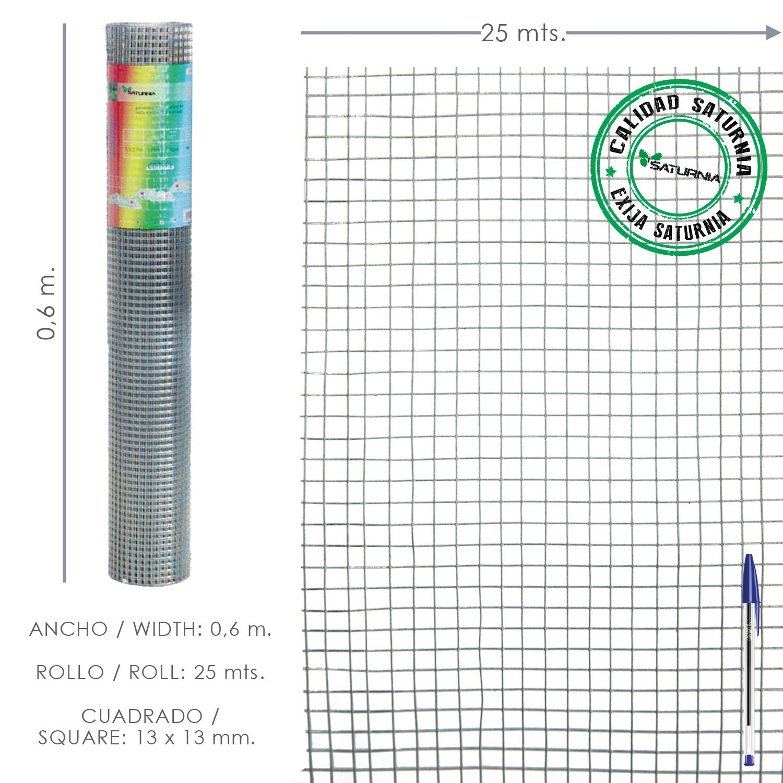 Malla Electrosoldada Galvanizada 13x13 / 60 cm. Rollo 25 Metros. Uso Domestico