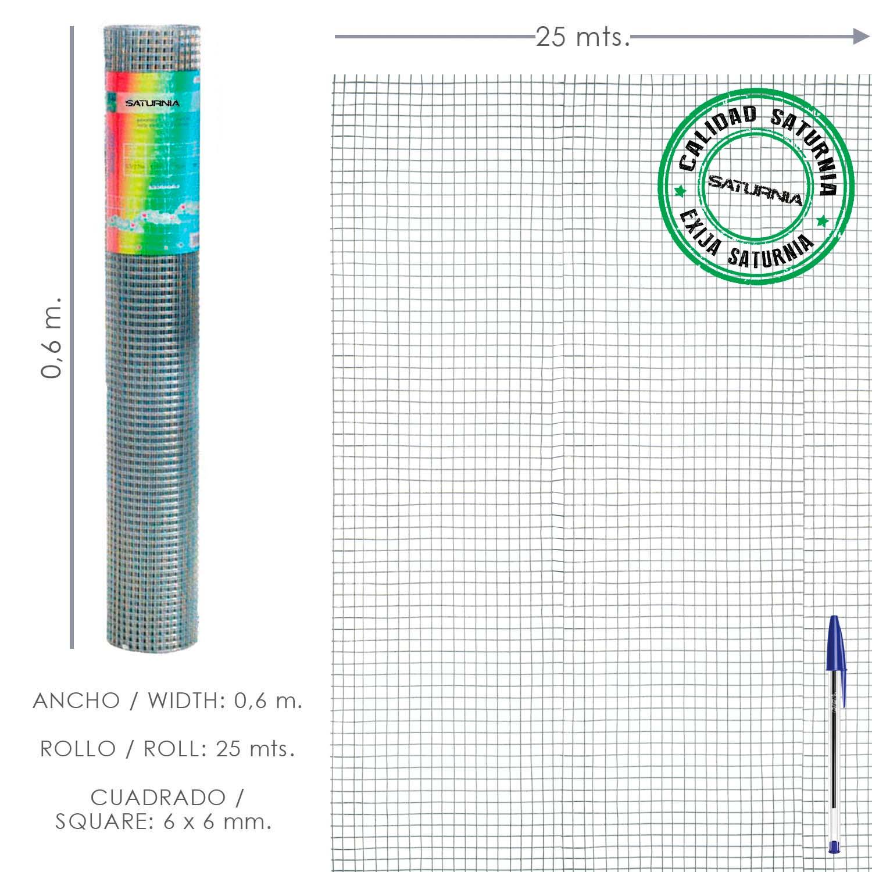 Malla Electrosoldada Galvanizada 6x6 / 60 cm. Rollo 25 Metros Uso Domestico