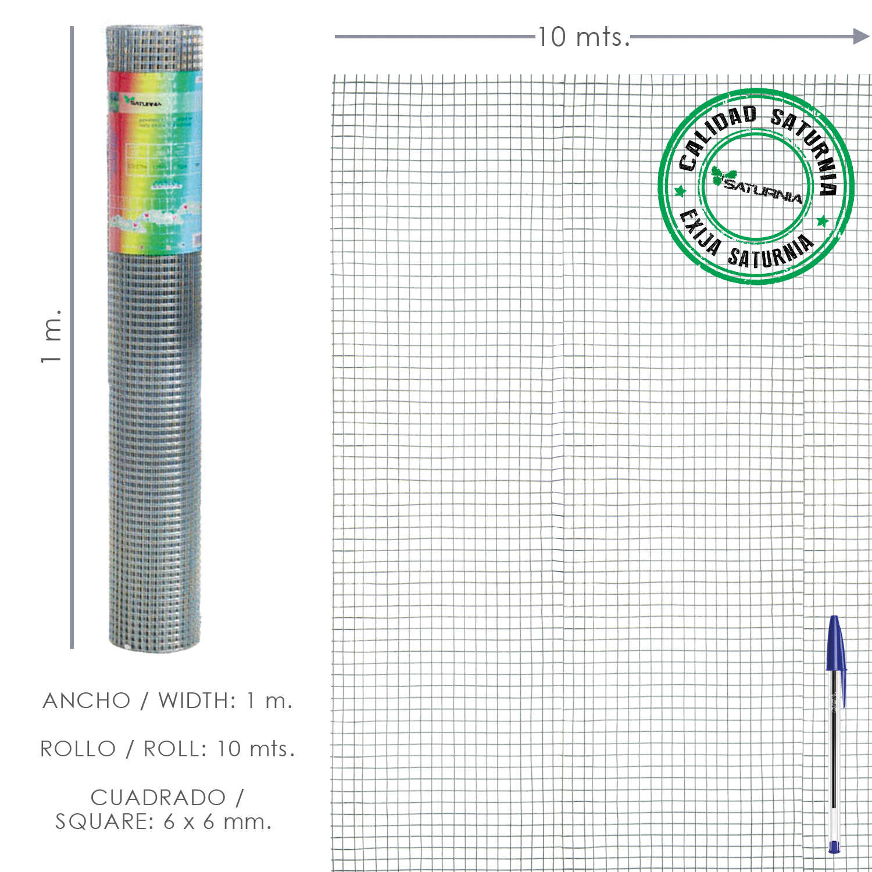 Malla Electrosoldada Galvanizada 6x6 / 100 cm. rollo 10 Metros Uso Domestico