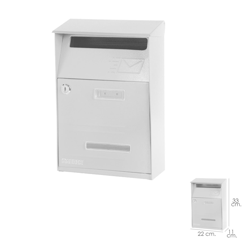 Buzon Maurer Exterior 22 x 33 x 11 (alt) cm. Color Blanco