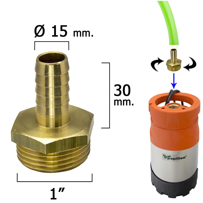 Entronque De Manguera Con Espiga Ø 15 mm. Macho 1