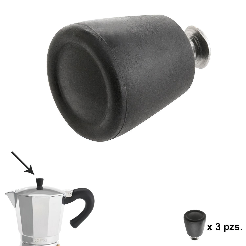Pomo Cafetera Aluminio Inducción 6 / 9 / 12 Tazas (3 piezas)